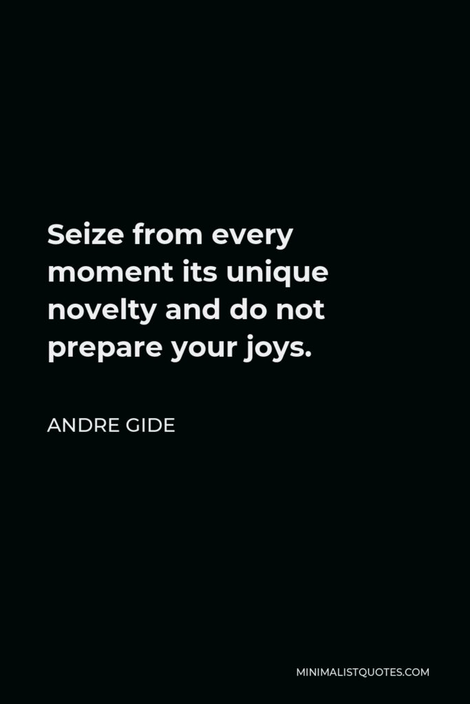 Andre Gide Quote - Seize from every moment its unique novelty and do not prepare your joys.