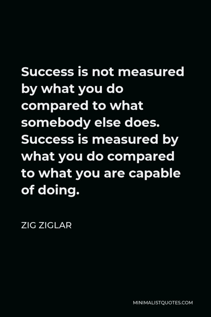 Zig Ziglar Quote - Success is not measured by what you do compared to what somebody else does. Success is measured by what you do compared to what you are capable of doing.