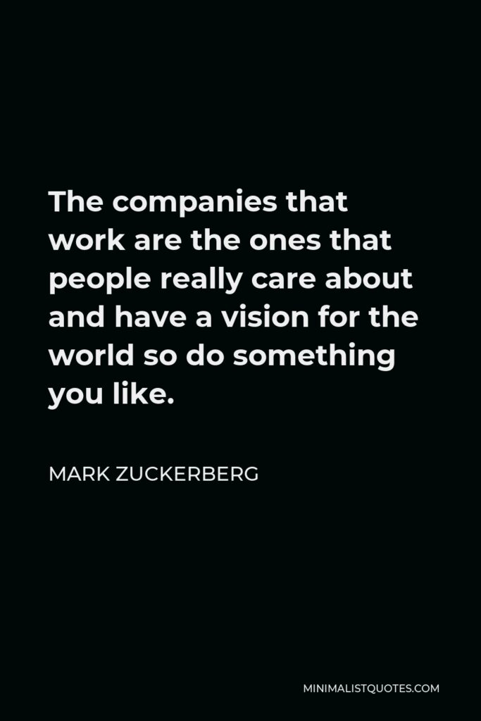 Mark Zuckerberg Quote - The companies that work are the ones that people really care about and have a vision for the world so do something you like.