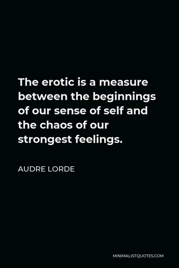 Audre Lorde Quote - The erotic is a measure between the beginnings of our sense of self and the chaos of our strongest feelings.