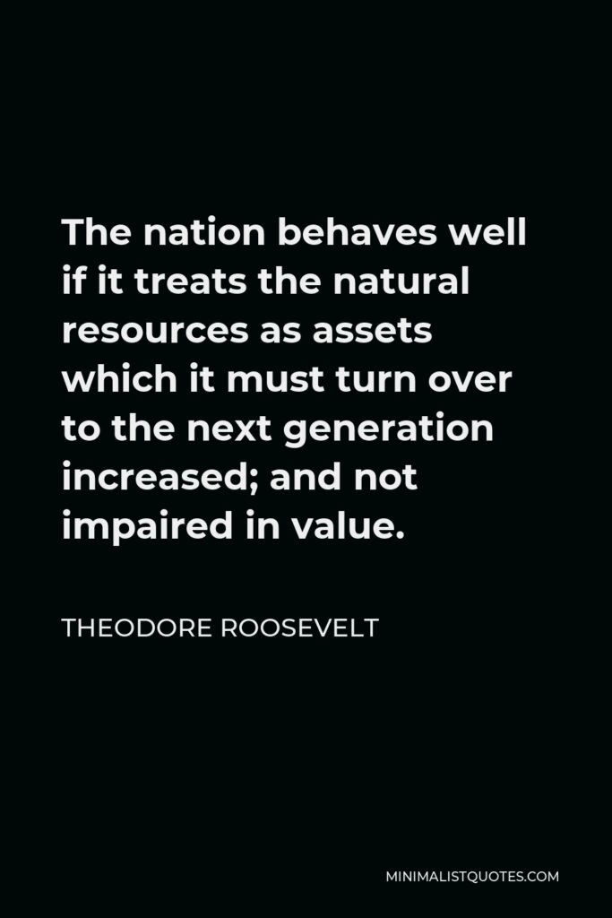 Theodore Roosevelt Quote: The nation behaves well if it treats the natural resources as assets which it must turn over to the next generation increased; and not impaired in value.