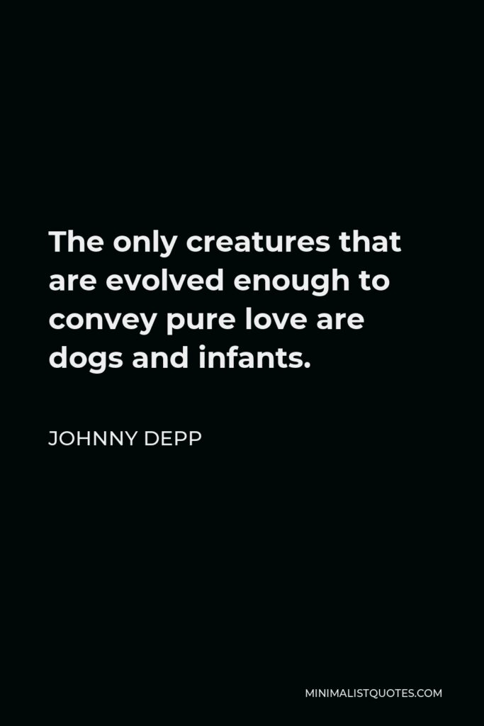 Johnny Depp Quote - The only creatures that are evolved enough to convey pure love are dogs and infants.