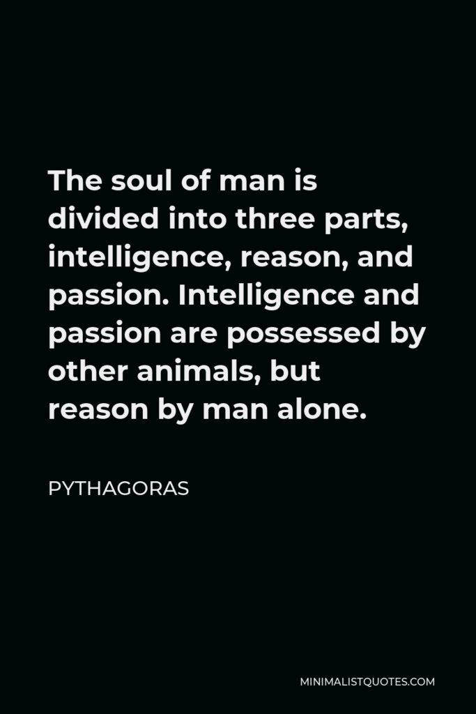 Pythagoras Quote - The soul of man is divided into three parts, intelligence, reason, and passion. Intelligence and passion are possessed by other animals, but reason by man alone.