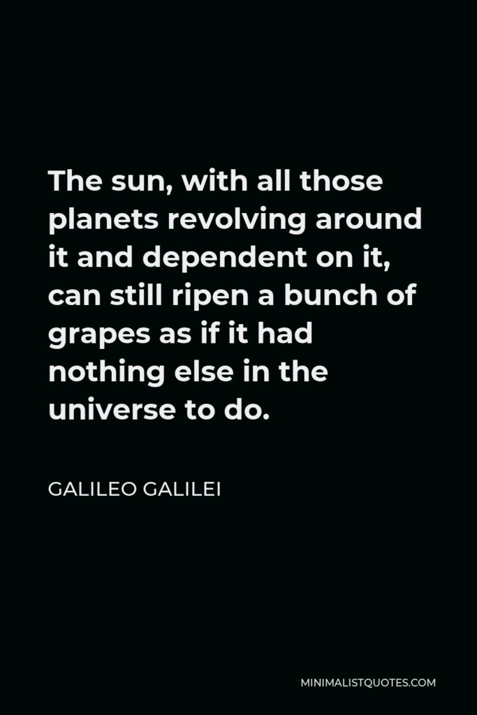 Galileo Galilei Quote - The sun, with all those planets revolving around it and dependent on it, can still ripen a bunch of grapes as if it had nothing else in the universe to do.