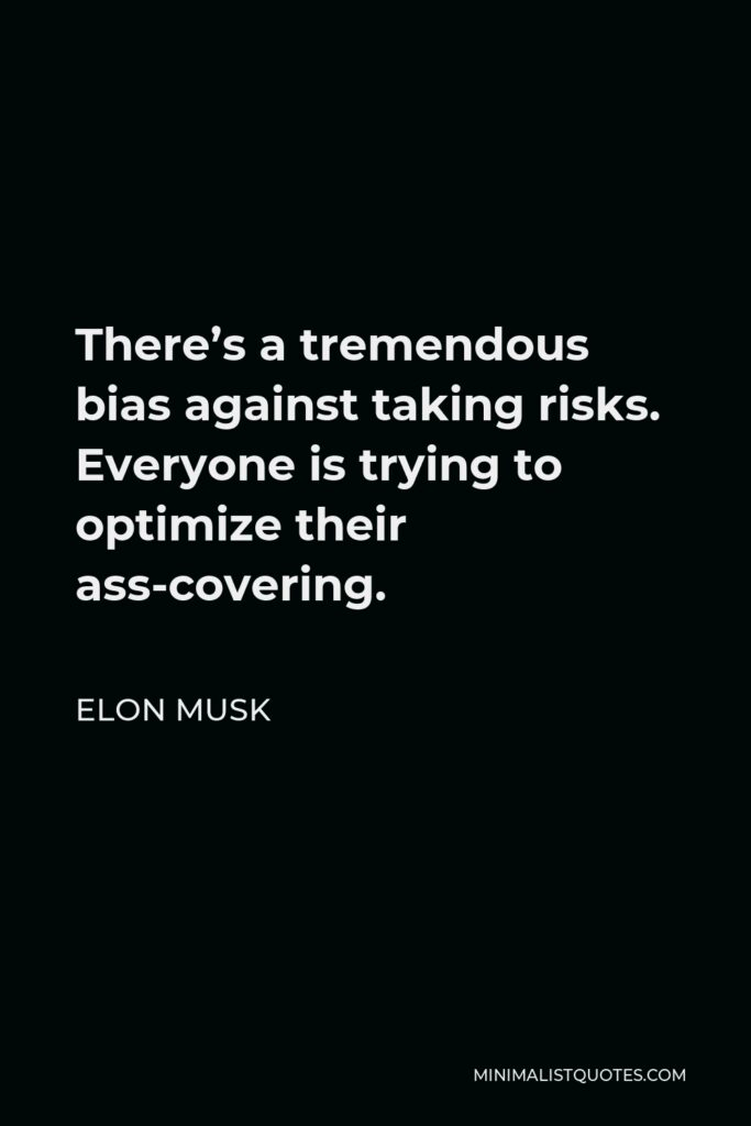 Elon Musk Quote - There's a tremendous bias against taking risks. Everyone is trying to optimize their ass-covering.