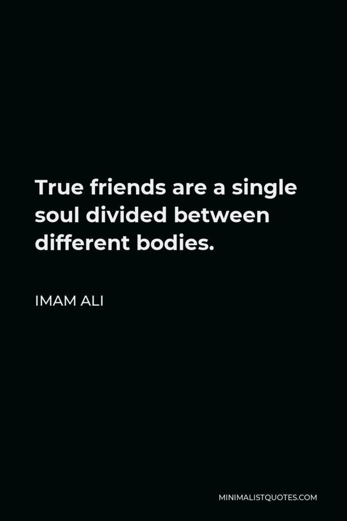 Imam Ali Quote - True friends are a single soul divided between different bodies.