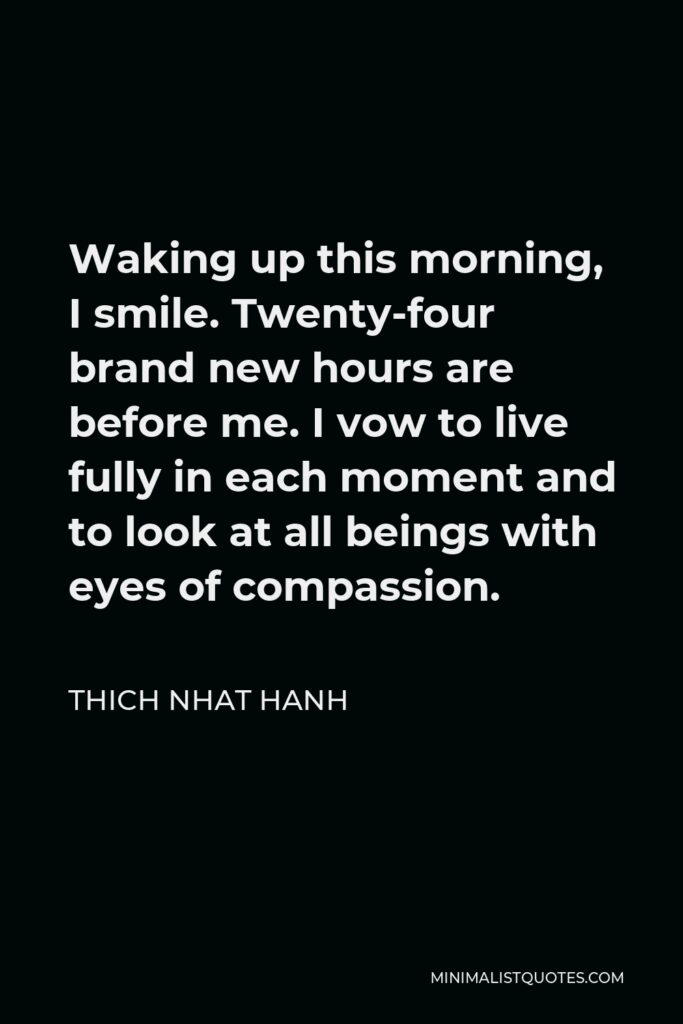 Thich Nhat Hanh Quote - Waking up this morning, I smile. Twenty-four brand new hours are before me. I vow to live fully in each moment and to look at all beings with eyes of compassion.