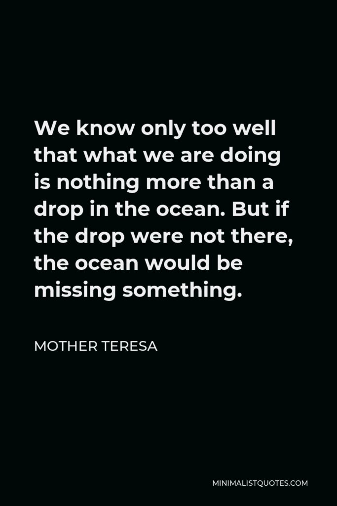 Mother Teresa Quote - We know only too well that what we are doing is nothing more than a drop in the ocean. But if the drop were not there, the ocean would be missing something.