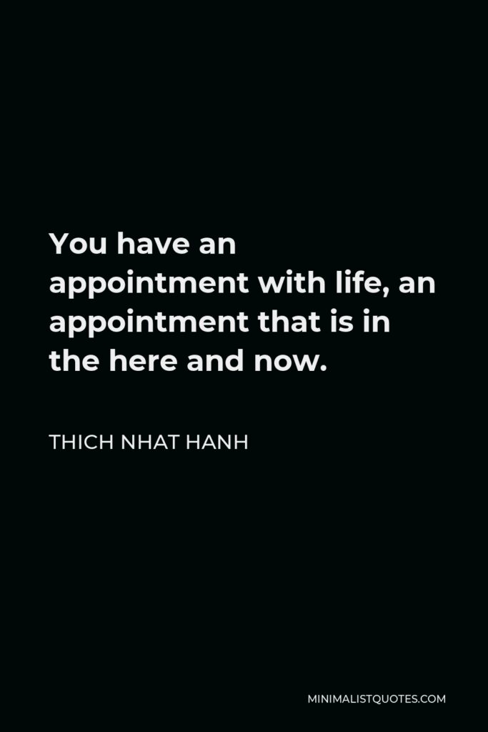 Thich Nhat Hanh Quote - You have an appointment with life, an appointment that is in the here and now.