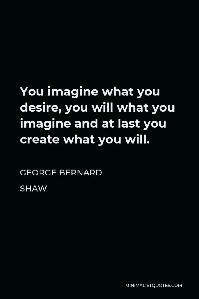 George Bernard Shaw Quote - You imagine what you desire, you will what you imagine and at last you create what you will.