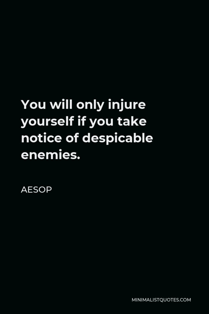 Aesop Quote - You will only injure yourself if you take notice of despicable enemies.