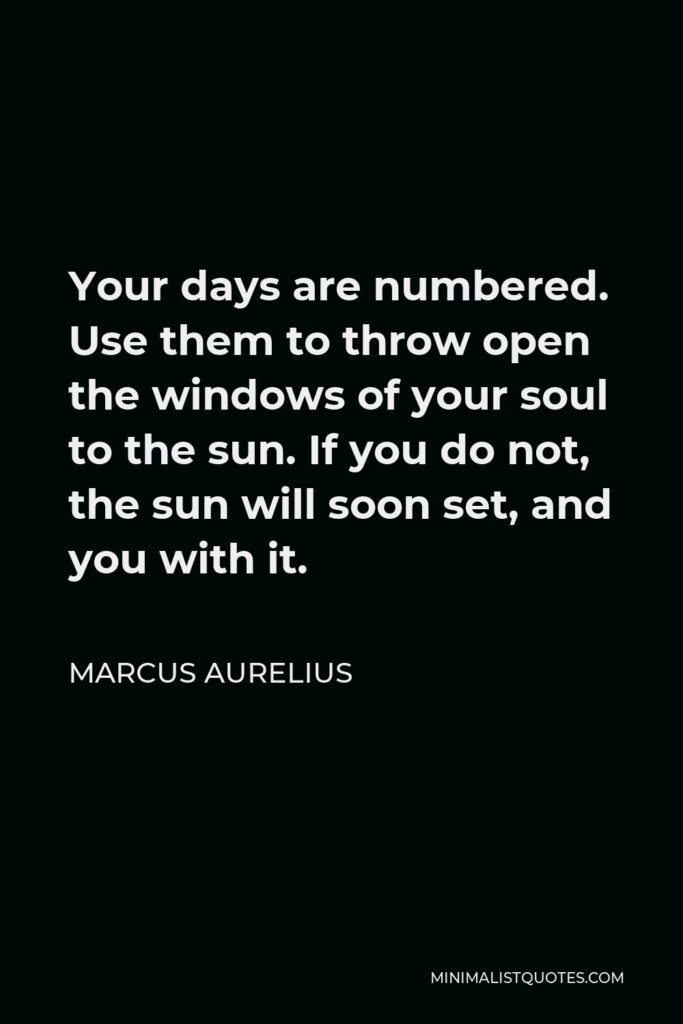 Marcus Aurelius Quote - Your days are numbered. Use them to throw open the windows of your soul to the sun. If you do not, the sun will soon set, and you with it.
