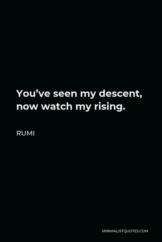 Rumi Quote - You've seen my descent, now watch my rising.
