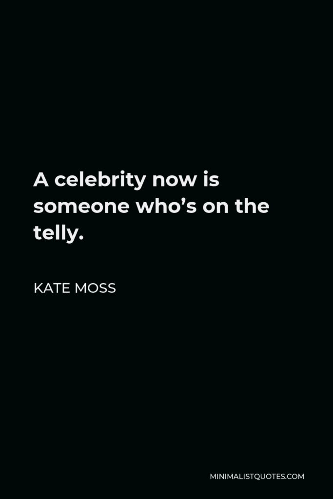 Kate Moss Quote - A celebrity now is someone who's on the telly.