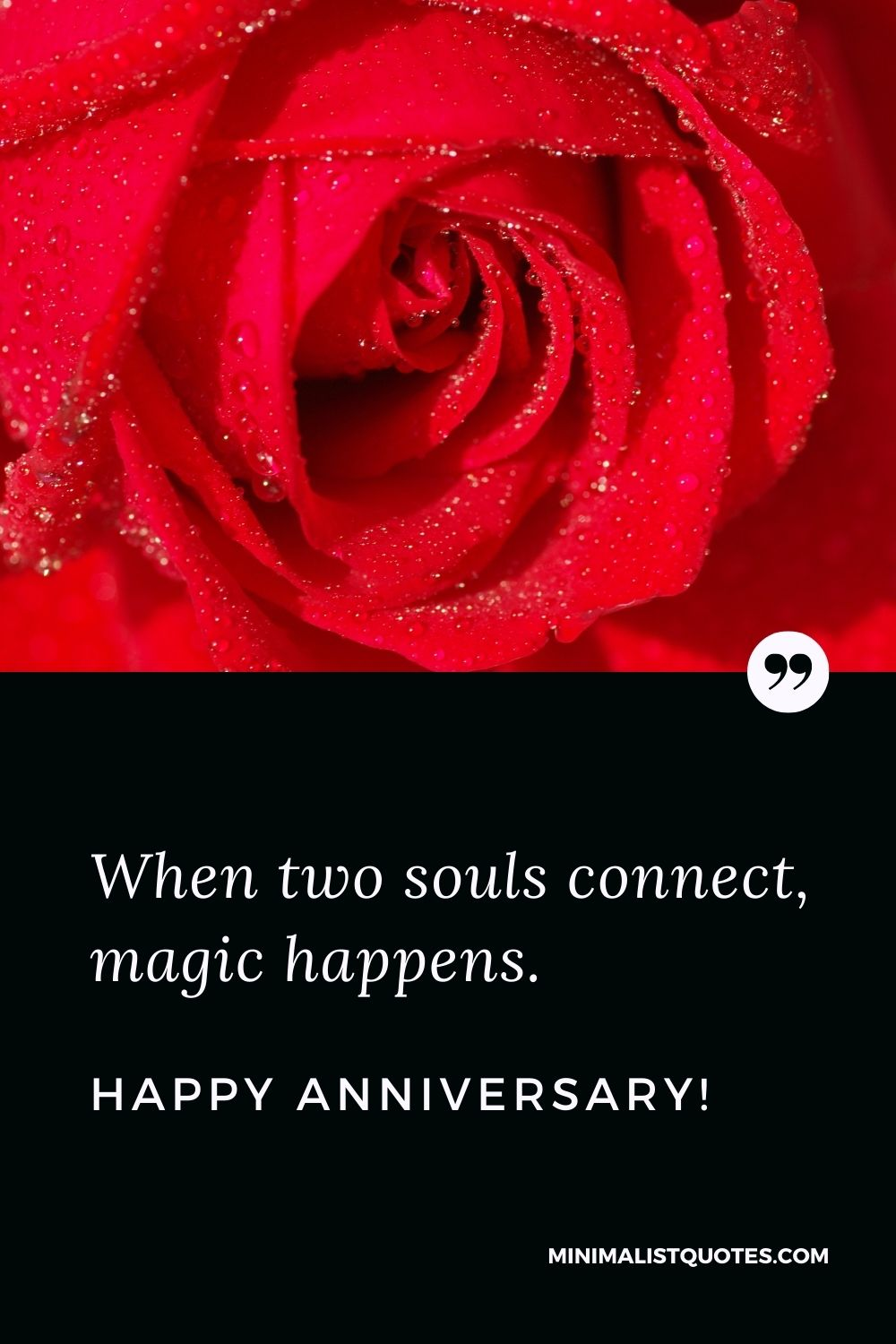 Anniversary Quote, Wish & Message With Image: When two souls connect, magic happens. Happy Anniversary!