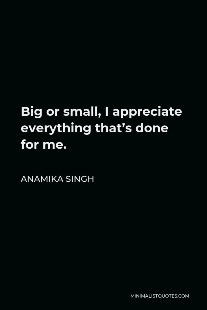 Anamika Singh Quote - Big or small, I appreciate everything that's done for me.