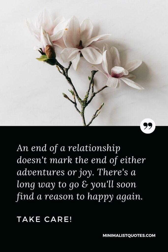 Divorce Quote, Sympathy & Message With Image: An end of a relationship doesn't mark the end of either adventures or joy. There's a long way to go & you'll soon find a reason to happy again. Take Care!