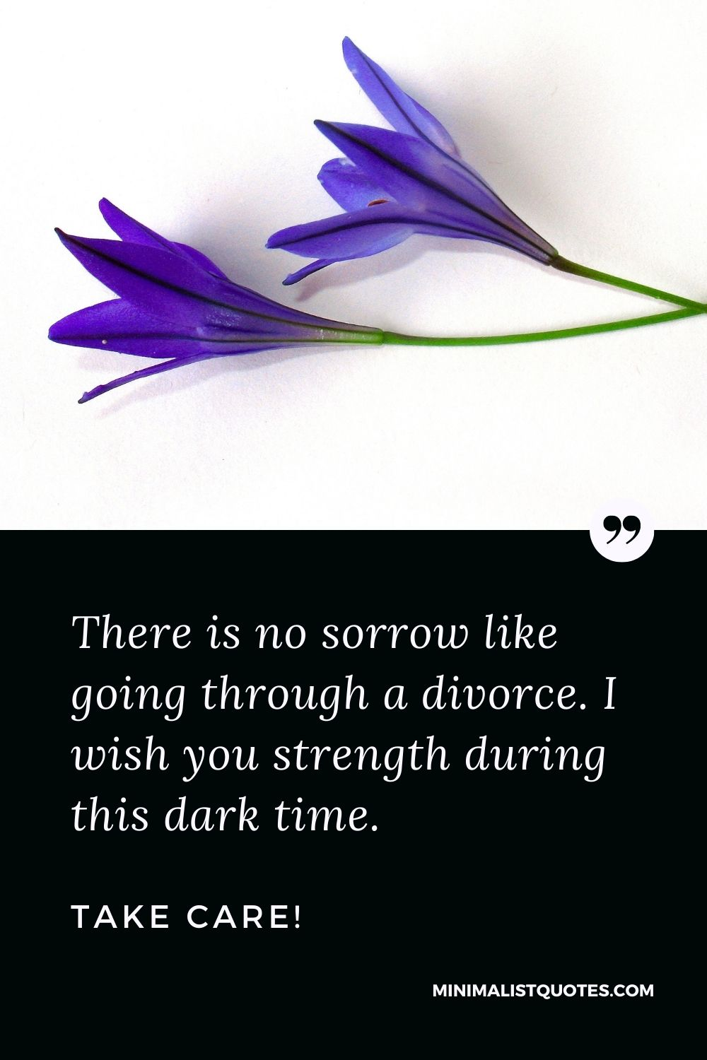 Divorce Quote, Sympathy & Message With Image: There is no sorrow like going through a divorce. I wish you strength during this dark time. Take Care!