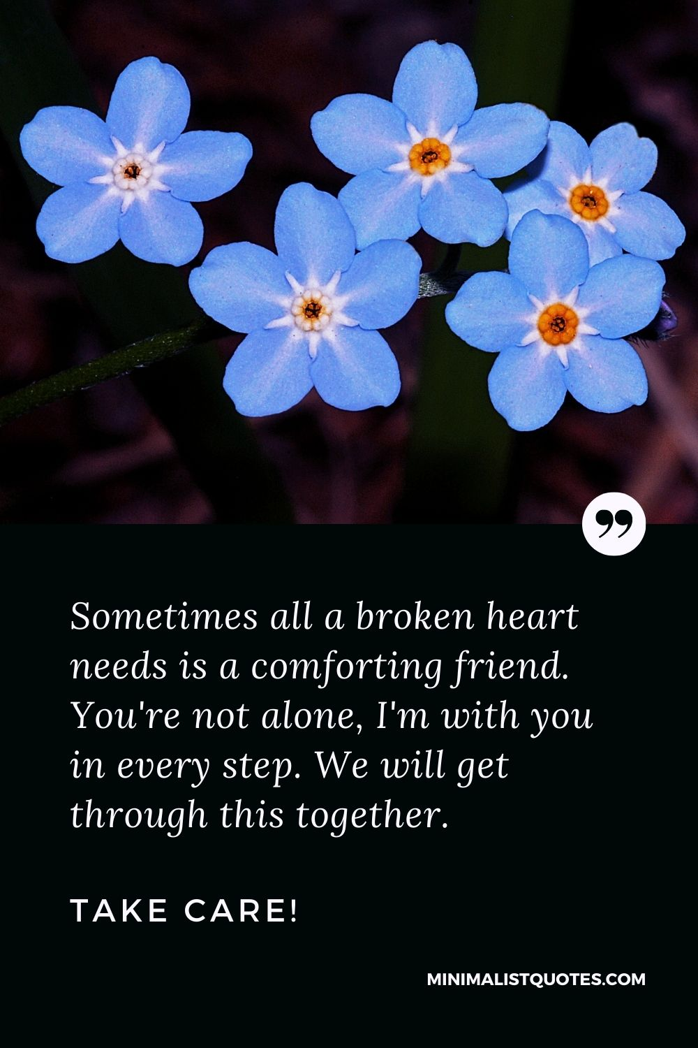 Divorce Quote, Sympathy & Message With Image: Sometimes all a broken heart needs is a comforting friend. You're not alone, I'm with you in every step. We will get through this together. Take Care!