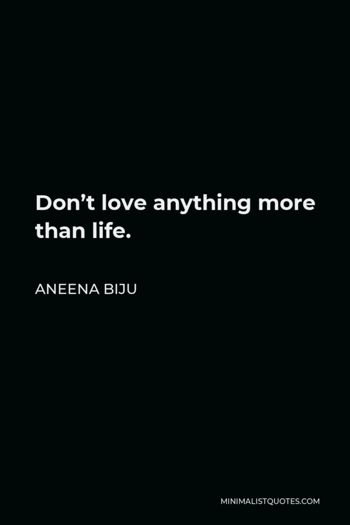 Aneena Biju Quote - Don't love anything more than life.