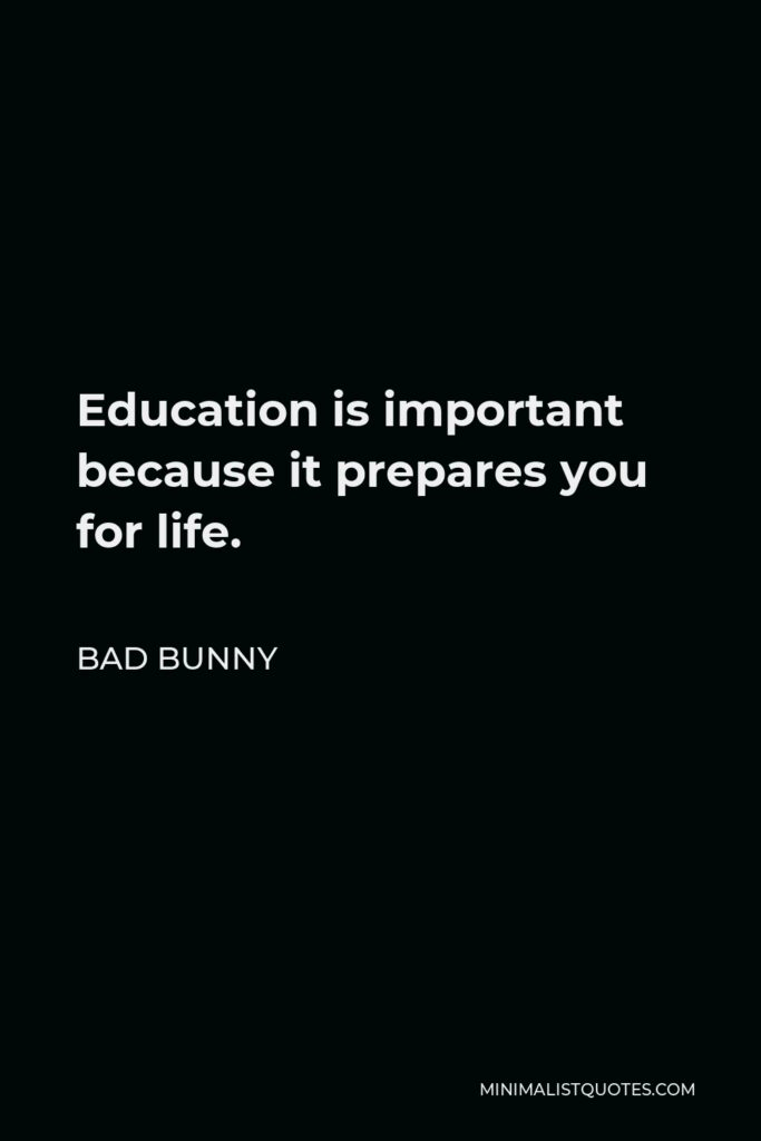 Bad Bunny Quote - Education is important because it prepares you for life.