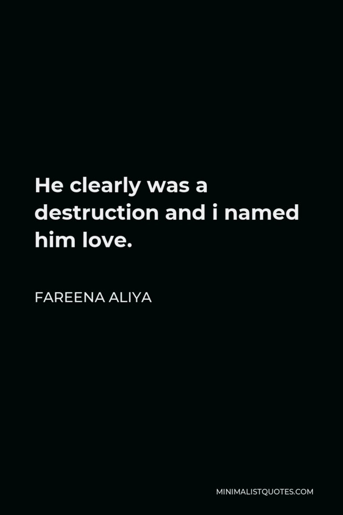 Fareena Aliya Quote - He clearly was a destruction and i named him love.