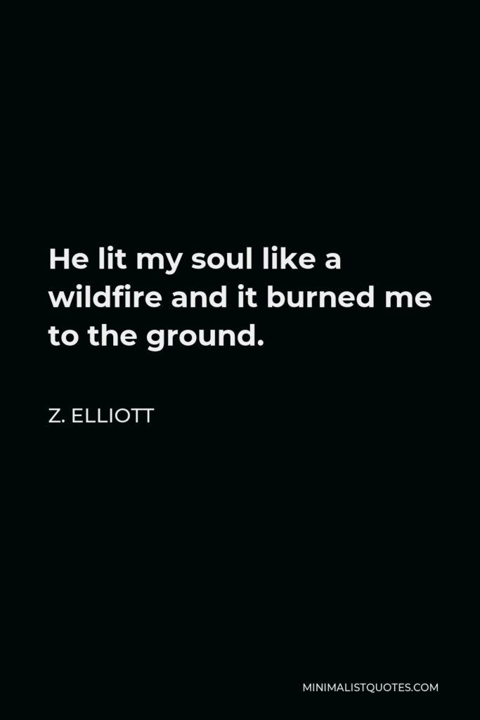 Z. Elliott Quote - He lit my soul like a wildfire and it burned me to the ground.