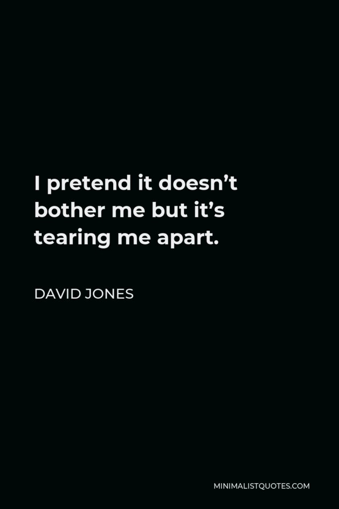 David Jones Quote - I pretend it doesn't bother me but it's tearing me apart.