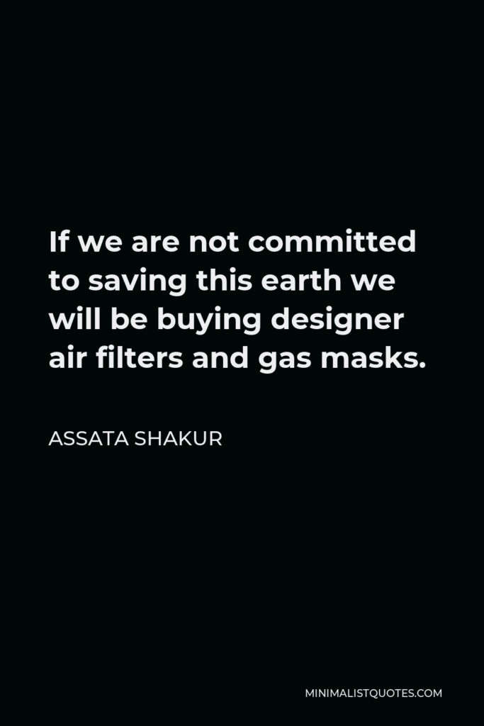 Assata Shakur Quote - If we are not committed to saving this earth we will be buying designer air filters and gas masks.
