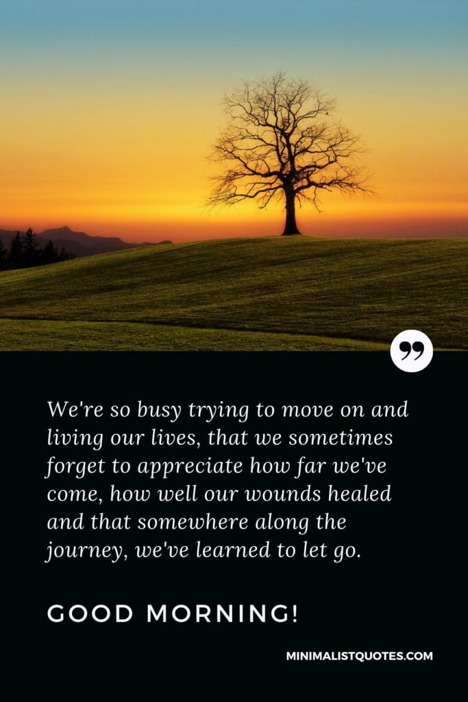 Good Morning Quote, Wish & Message With Image: We're so busy trying to move on and living our lives, that we sometimes forget to appreciate how far we've come, how well our wounds healed and that somewhere along the journey, we've learned to let go. Good Morning!