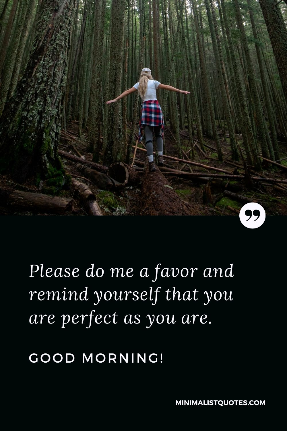 Morning Quote, Wish & Message With Image: Please do me a favor and remind yourself that you are perfect as you are. Good Morning!