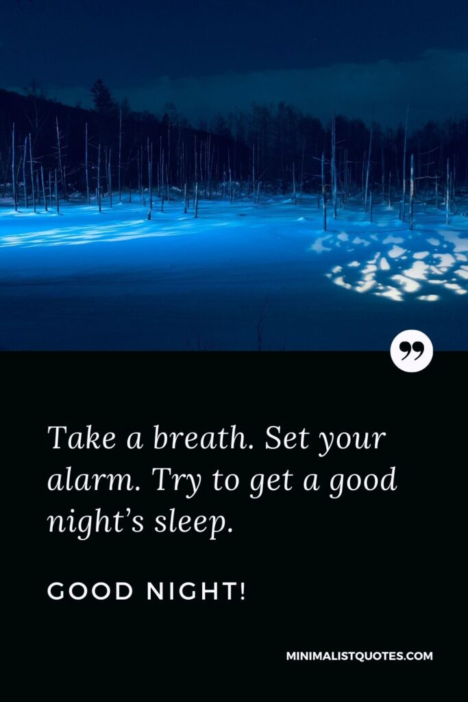 Good Night Quote, Wish & Message With Image: Take a breath. Set your alarm. Try to get a good night's sleep. Good Night!