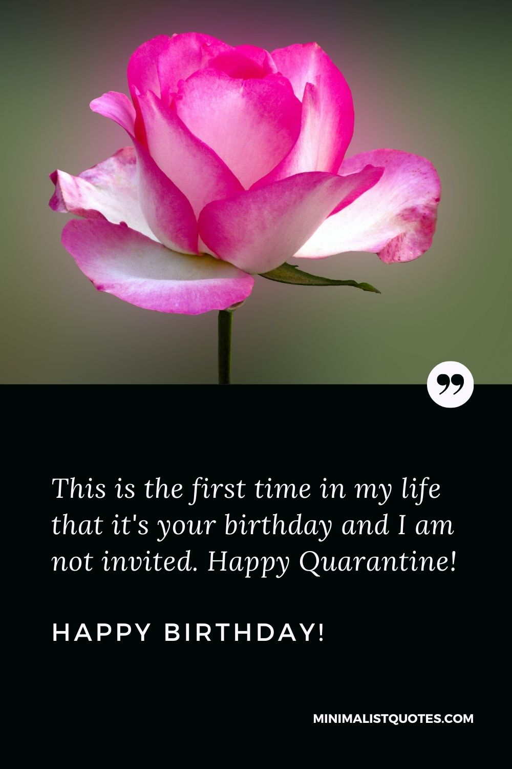 Quarantine Birthday Quote, Wish & Message With Image: This is the first time in my life that it's your birthday and I am not invited. Happy Quarantine Birthday!