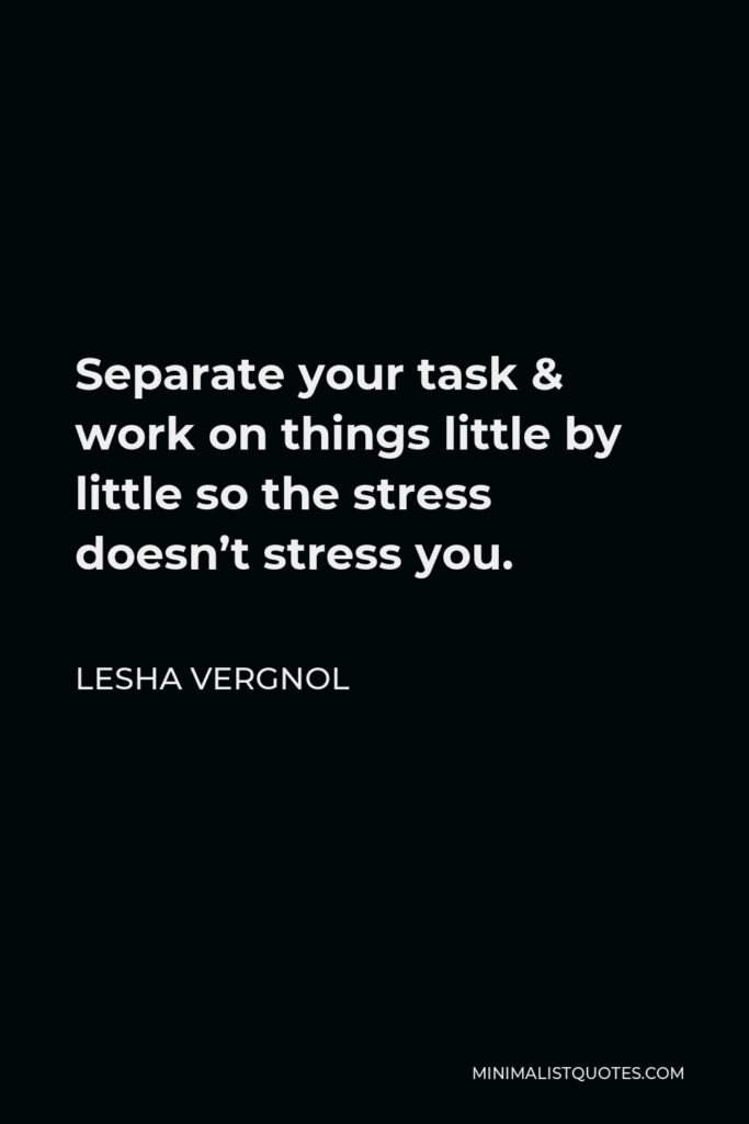 Lesha Vergnol Quote - Separate your task & work on things littleby little so the stress doesn't stress you.