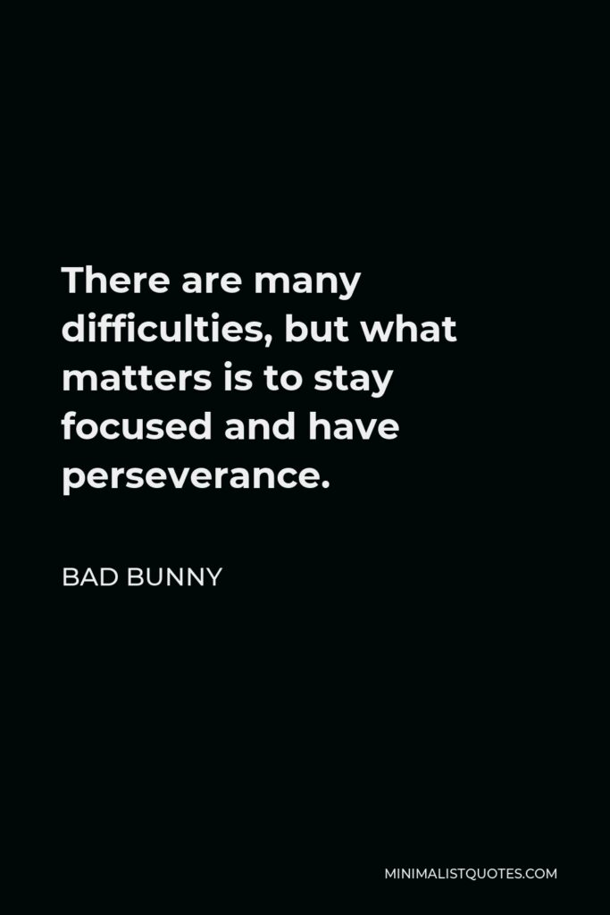 Bad Bunny Quote - There are many difficulties, but what matters is to stay focused and have perseverance.