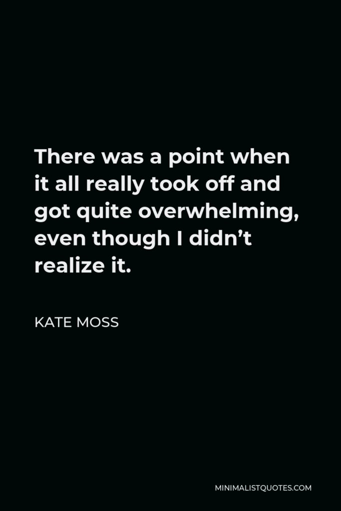 Kate Moss Quote - There was a point when it all really took off and got quite overwhelming, even though I didn't realize it.