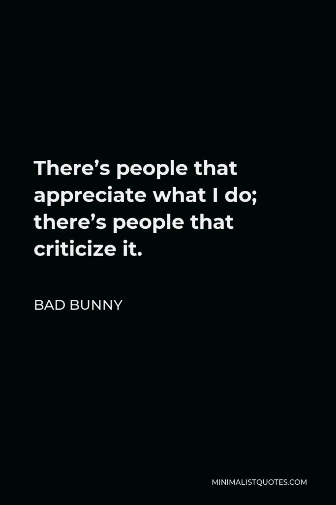 Bad Bunny Quote - There's people that appreciate what I do; there's people that criticize it.