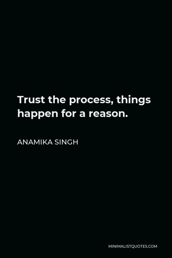 Anamika Singh Quote - Trust the process, things happen for a reason.