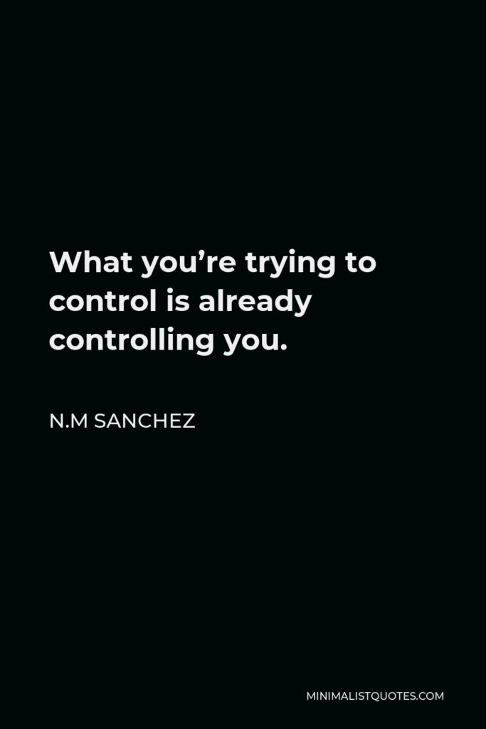 N.M Sanchez Quote - What you're trying to control is already controlling you.