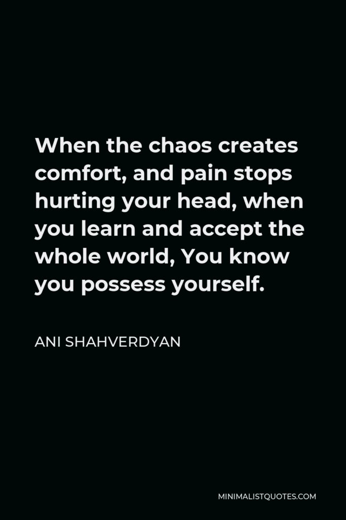 Ani Shahverdyan Quote - When the chaos creates comfort, and pain stops hurting your head, when you learn and accept the whole world, You know you possess yourself.