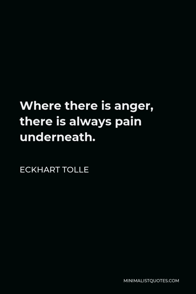 Eckhart Tolle Quote - Where there is anger, there is always pain underneath.