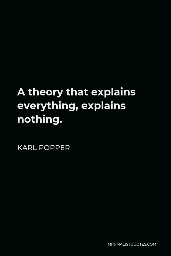 Karl Popper Quote - A theory that explains everything, explains nothing.