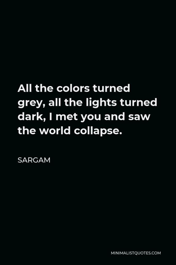 Sargam Quote - All the colors turned grey, all the lights turned dark, I met you and saw the world collapse.
