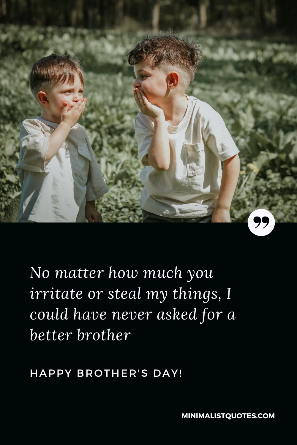 Brothers Day Quote, Wish & Message With Image: No matter how much you irritate or steal my things, I could have never asked for a better brother! Happy brothers day!
