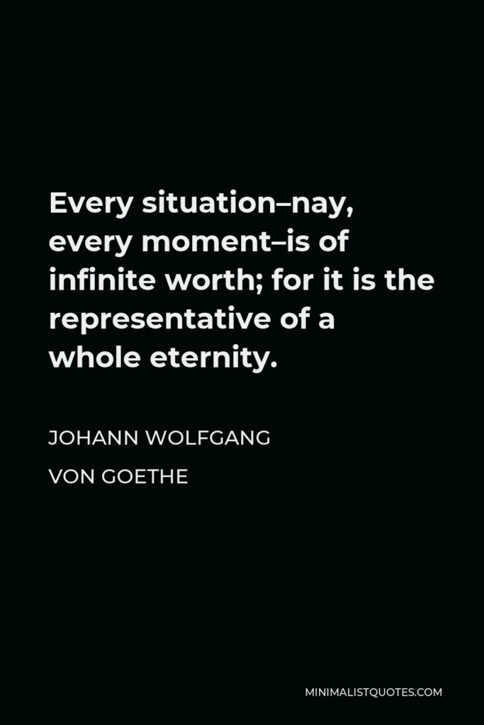 Johann Wolfgang von Goethe Quote - Every situation–nay, every moment–is of infinite worth; for it is the representative of a whole eternity.