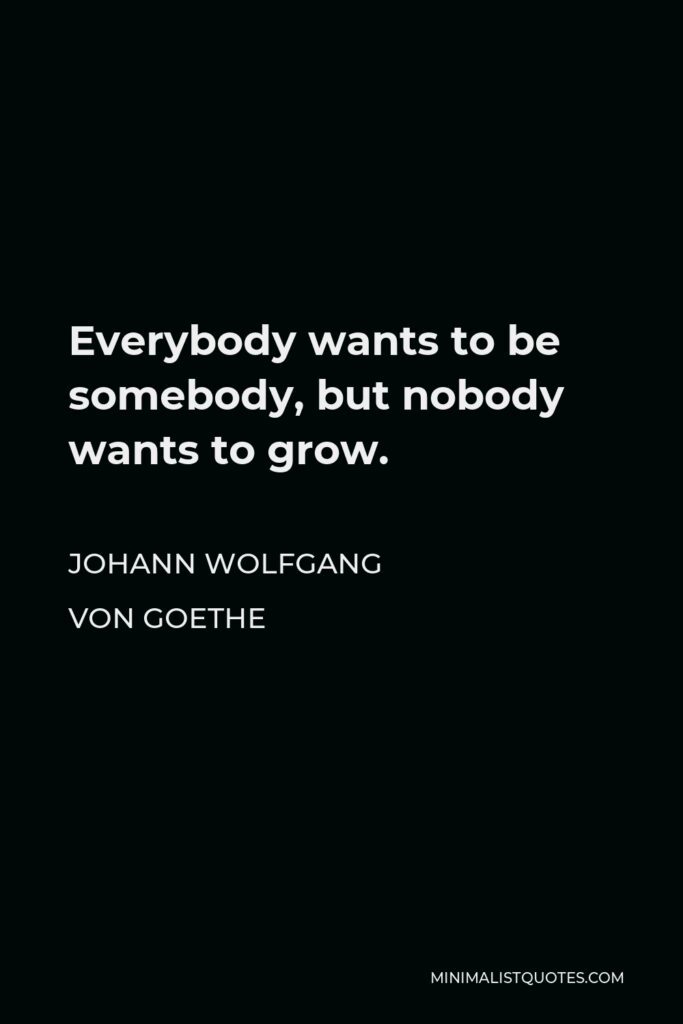Johann Wolfgang von Goethe Quote - Everybody wants to be somebody, but nobody wants to grow.
