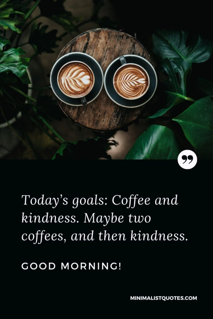 Good morning Funny quote & message: Today's goals: Coffee and kindness. Maybe two coffees, and then kindness. Good Morning!