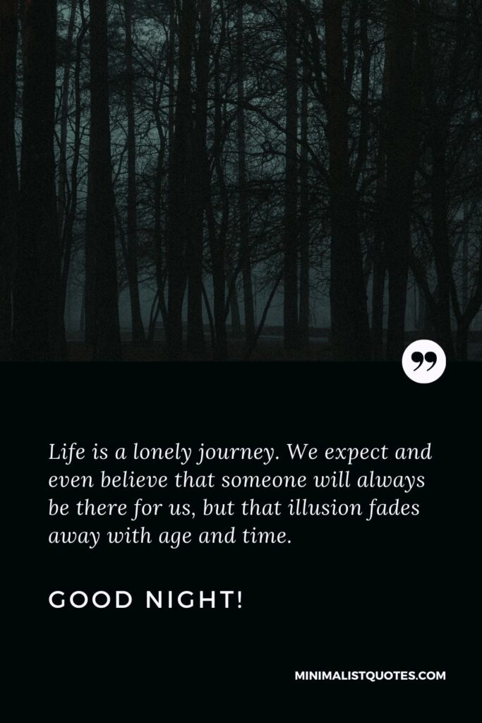 Good Night Quote, Wish & Message With Image: Life is a lonely journey. We expect and even believe that someone will always be there for us, but that illusion fades away with age and time. Good Night!