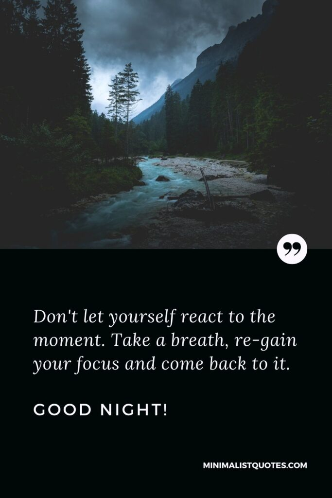 Good Night Thoughts: Don't let yourself react to the moment. Take a breath, re-gain your focus and come back to it. Good Night!