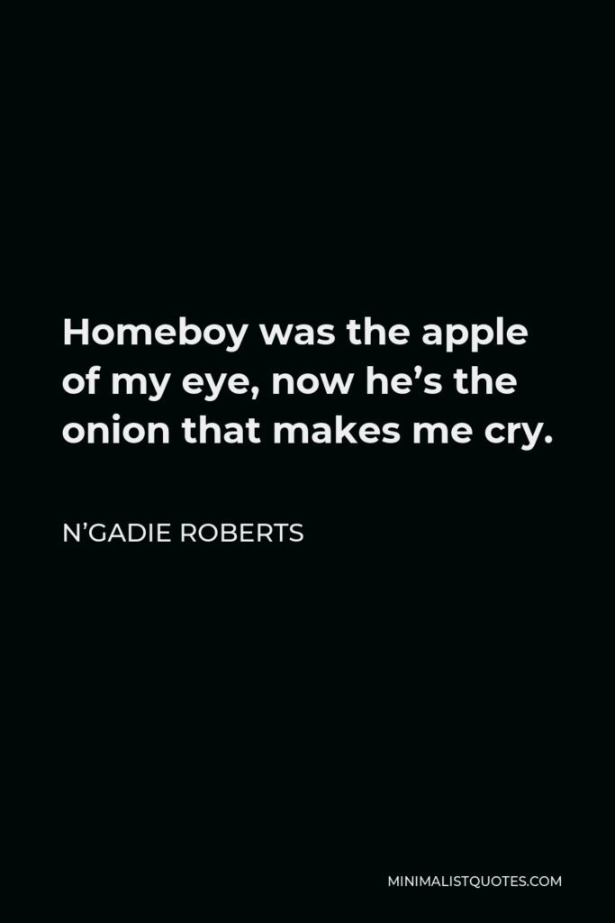 N'Gadie Roberts Quote - Homeboy was the apple of my eye, now he's the onion that makes me cry.